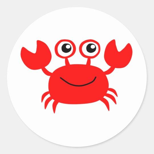 Happy Red Cartoon Crab Classic Round Sticker