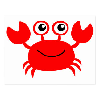 Happy Red Cartoon Crab Postcard
