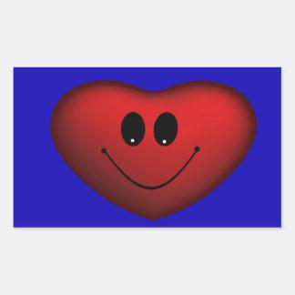 Happy red heart rectangular sticker