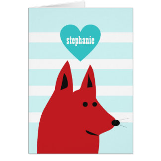 Happy Red Love Dog Card