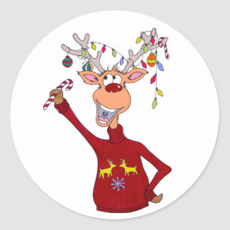 Happy Reindeer Classic Round Sticker