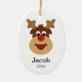 Happy Reindeer Custom Name Holiday Ornament