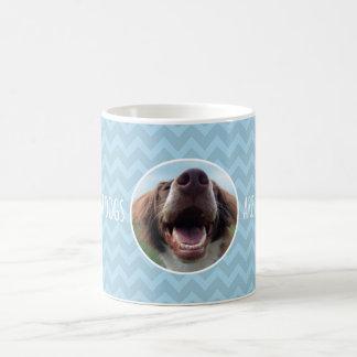 Happy Rescue Dog, Blue Chevron Basic White Mug