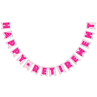 HAPPY RETIREMENT BANNER, Pink Color Bunting