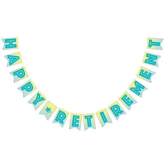 HAPPY RETIREMENT BANNER, Tropical Blue And Yellow Bunting