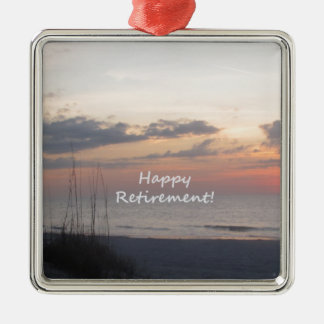Happy Retirement Beach sunset Christmas Ornament