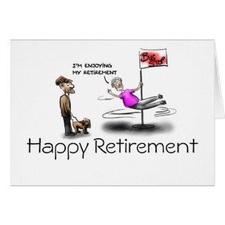 Happy retirement female cartoon greeting card