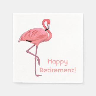 Happy Retirement Pink Flamingo Party Paper Napkin
