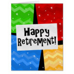 Happy Retirement, Primary Colour Squares Party Big Greeting Card