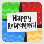 Happy Retirement, Primary Colour Squares Party Square Sticker