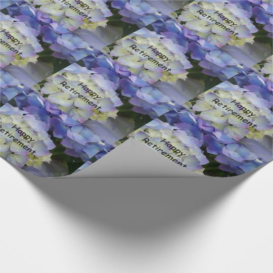 Happy retirement, purple hydrangea gift wrap. wrapping paper