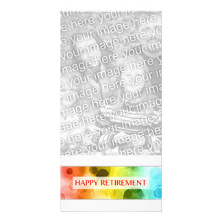 happy retirement (rainbow bokeh) personalized photo card