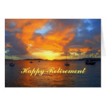 Happy Retirement Sailboats at Golden Sunset Greeting Card