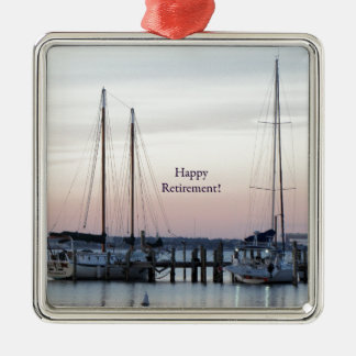 Happy Retirement Sailboats Sea Silver-Colored Square Decoration