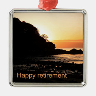 Happy retirement sunset in Scotland Silver-Colored Square Decoration