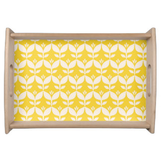 Happy retro yellow tulips serving tray