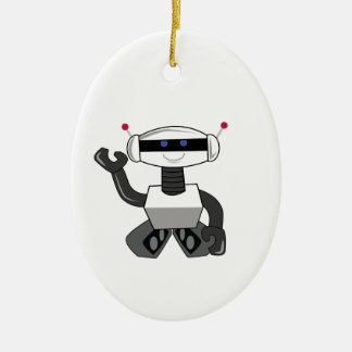 Happy Robot Christmas Ornament