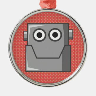 HAPPY ROBOT HEAD CHRISTMAS ORNAMENT