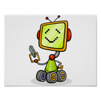 Happy Robot On Wheels Poster