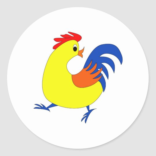 Happy Rooster Classic Round Sticker