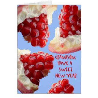 Happy Rosh Hashanah for a Grandson, Pomegranate Greeting Card