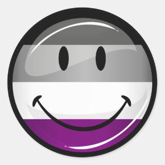 Happy Round Asexual Flag Round Sticker