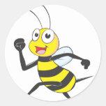 Happy Running Bee Round Sticker