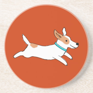 Happy Running Jack Russell Terrier Cartoon Dog Coaster