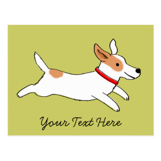 Happy Running Jack Russell Terrier Cartoon Postcard