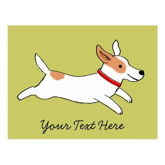 Happy Running Jack Russell Terrier Cartoon Postcard