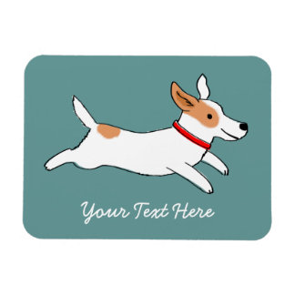 Happy Running Jack Russell Terrier - Custom Text Magnet