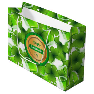 Happy Saint Patrick's Day Faux Golden Badge Large Gift Bag