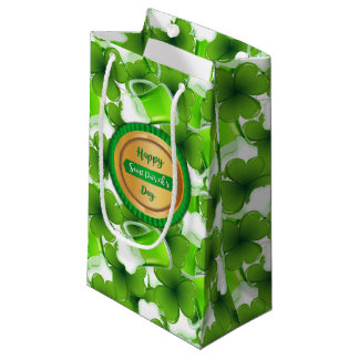 Happy Saint Patrick's Day Faux Golden Badge Small Gift Bag