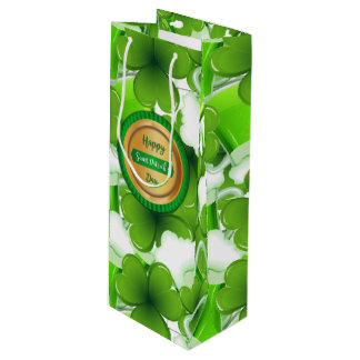 Happy Saint Patrick's Day Faux Golden Badge Wine Gift Bag