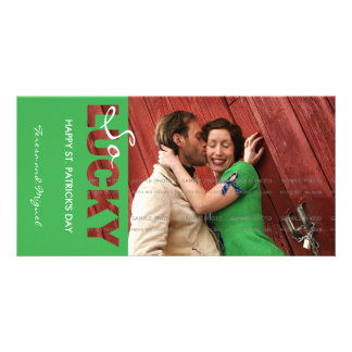 Happy Saint Patricks Day Green So Lucky Cutout Personalized Photo Card