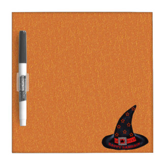 Happy Samhain Witch Hat Stars Magic Wiccan Dry Erase Board