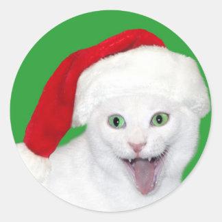 Happy Santa Cat Classic Round Sticker
