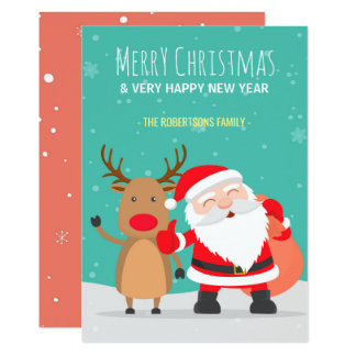 Happy Santa Claus and Reindeer Christmas Card