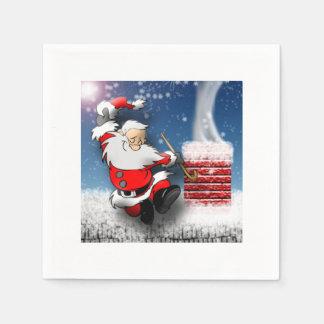 Happy Santa Claus Dancing Christmas Eve Rooftop Disposable Serviette