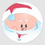 Happy Santa Claus face Classic Round Sticker