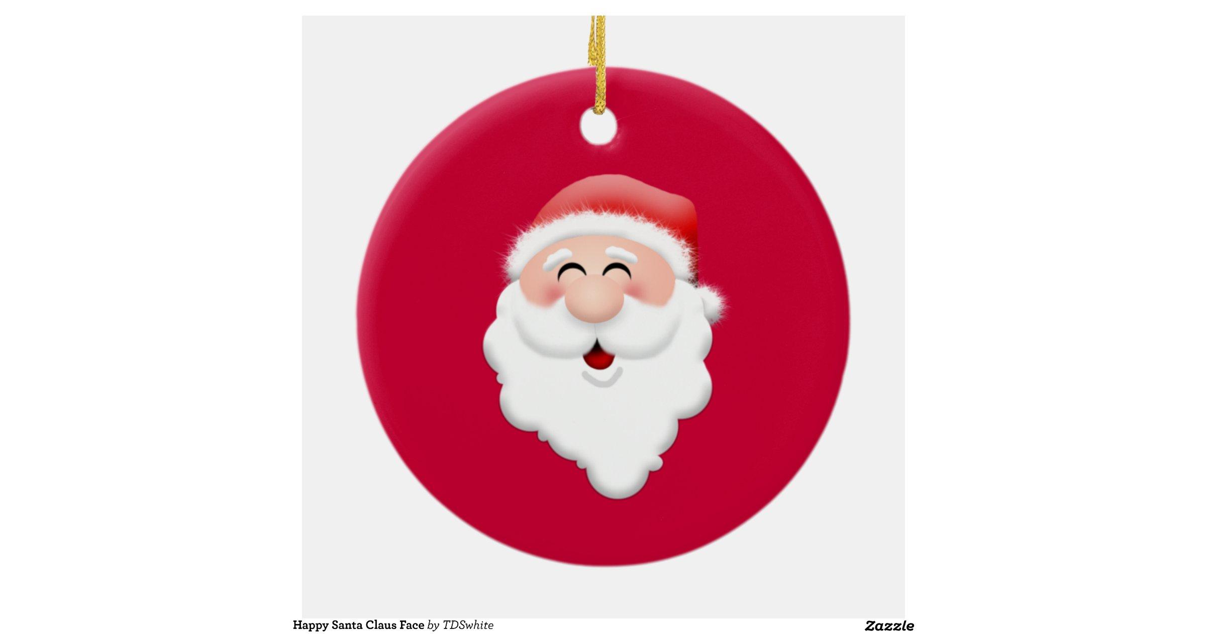 Happy Santa Claus Face Round Ceramic Decoration