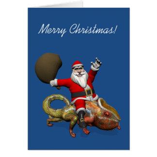 Happy Santa Claus On Huge Panther Chameleon Card