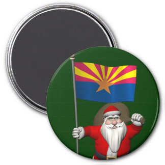 Happy Santa Claus On The Way To Arizona 7.5 Cm Round Magnet