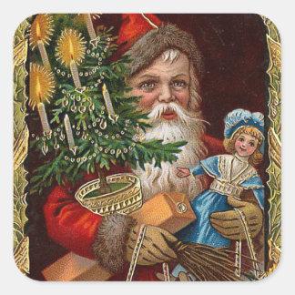 """""""Happy Santa Claus"""" Square Sticker"""