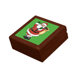 Happy Santa Claus Waving Gift Box