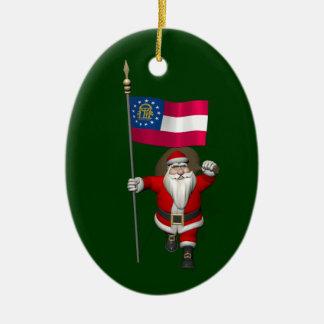 Happy Santa Claus With Flag Of Georgia Christmas Ornament