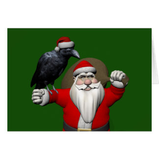 Happy Santa Claus With Huge Raven Card
