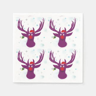 Happy Santa Deer New Year  Paper Napkins