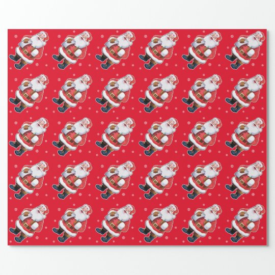 Happy Santa wrapping paper on red