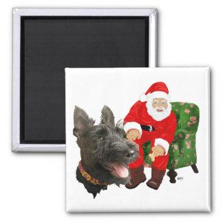 Happy Scottie and Santa Square Magnet